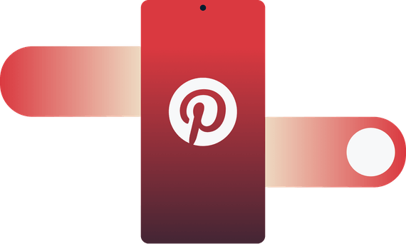 Pinterest logo on mobile device with swipe gesture going through it.
