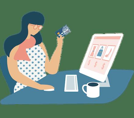 Få lägre priser: Kvinna vid skrivbord framför en stationär datorskärm.