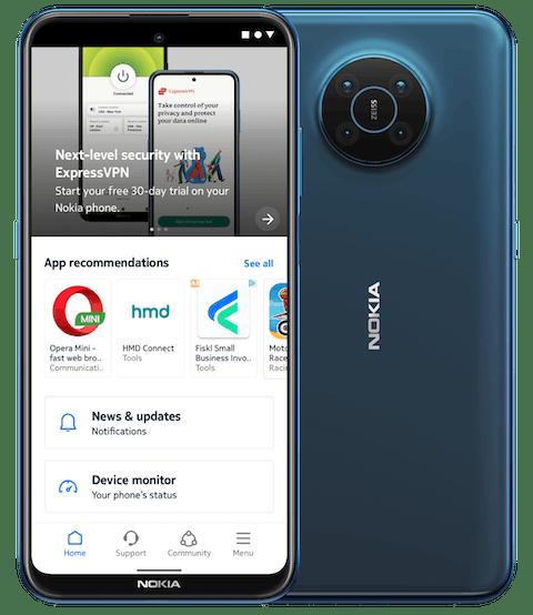 ExpressVPN featured on Nokia MyPhone app screen.