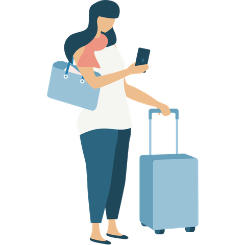 Woman with suitcase and tote bag holding phone