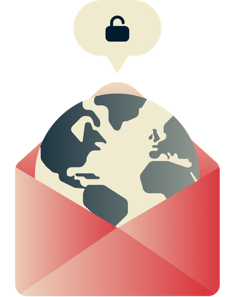 Unblock Gmail anywhere: A globe with an open padlock.