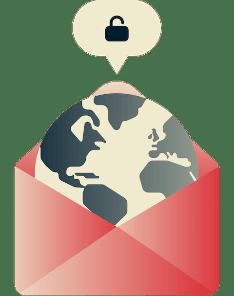 Desbloqueie o Gmail em qualquer lugar: Um globo com um cadeado aberto.