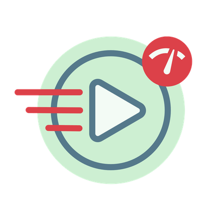 Fast video play button, with a speedometer.