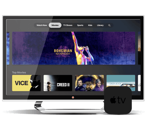 Interfaccia utente Apple TV+ su una TV e console Apple TV.