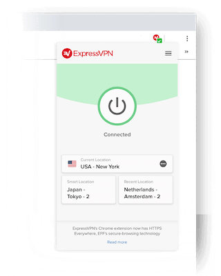 Best VPN browser extension for Chrome: Close-up of the ExpressVPN browser add-on showing that the VPN is connected.