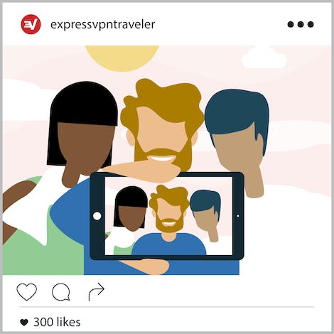 Instagram post of three smiling friends holding up a phone with their picture on it.