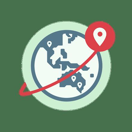 VPN sunucu konumlarını gösteren dünya.