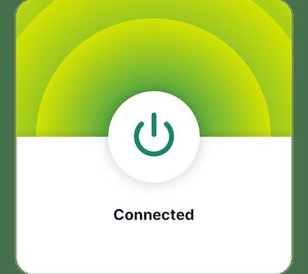 ExpressVPNアプリUI (Android): VPN接続済み画面。