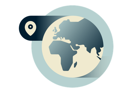 En klode som viser Europa, Afrika og Midt-Østen.