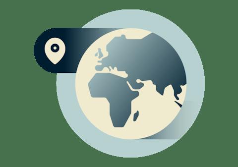 Globus, der viser Europa, Afrika og Mellemøsten.