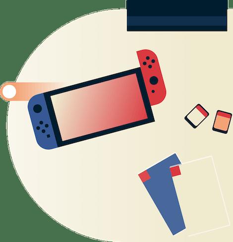 Nintendo Switch mit Fernbedienung.