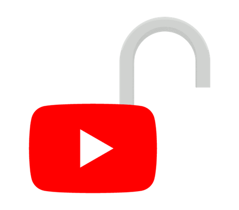 YouTube play button in the shape of an open padlock.