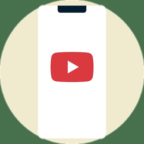 Logo YouTube sur un appareil mobile
