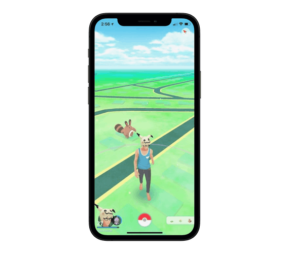 Pokémon Go gameplay screen on an iPhone.