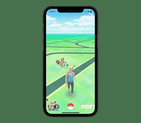 Pokémon Go spelskärm på en iPhone.
