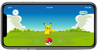 Pokémon Go gameplay screen on an iPhone.