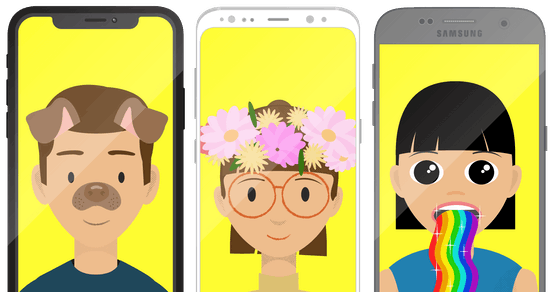 Phones displaying selfies with Snapchat filters.