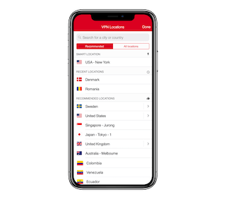 ExpressVPN app UI on an iPhone X, showing recommended VPN server location list.