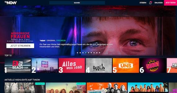 TVNOW on a desktop screen.