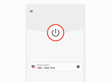 ExpressVPN app UI (iOS): VPN disconnected.