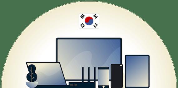 さまざまなデバイスを保護する韓国対応VPN。