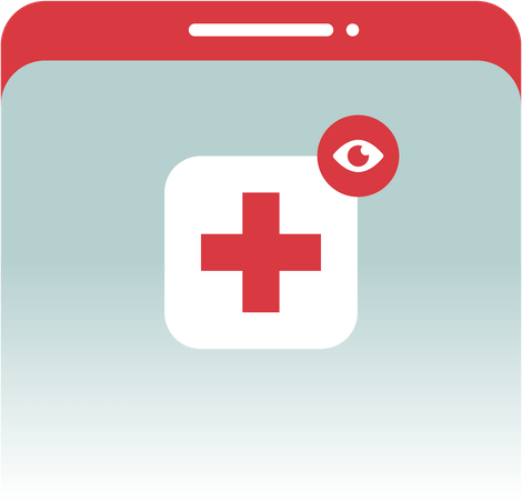 An app icon on a phone with a cross and eye.