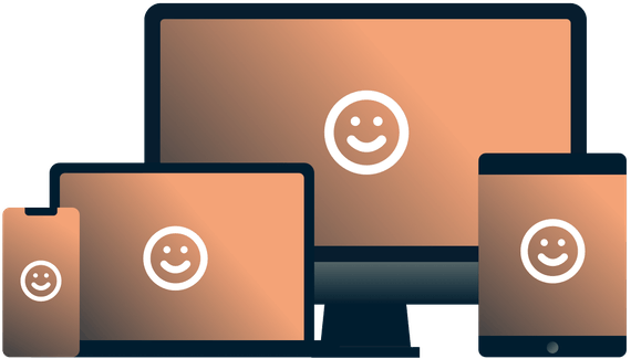Various devices with smiley faces on them.
