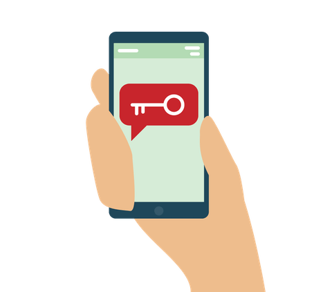 A messaging app with a key on a phone screen.