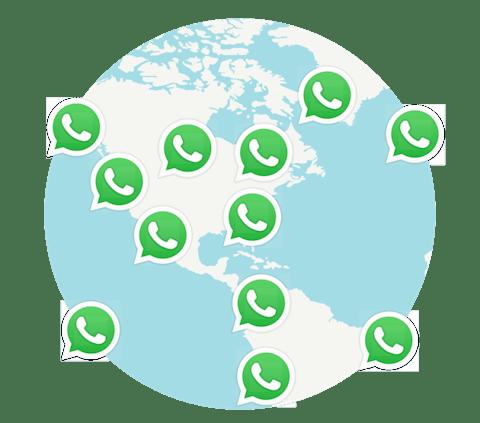WhatsApp-användare anslutna runt en jordglob.