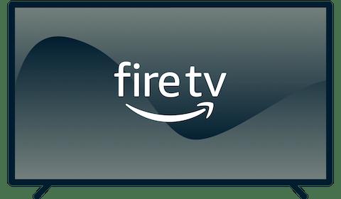 Amazon Fire TV logo on a TV.