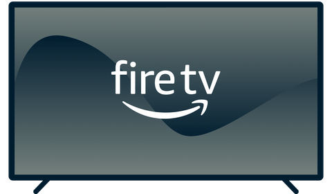 Amazon Fire TV logo on a TV.
