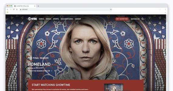 Kuvakaappaus Homeland-sarjasta Showtimen verkkosivustolla selaimen ikkunassa.