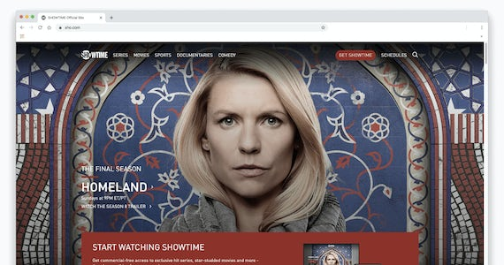 Screenshot of Homeland on Showtime in a browser window.