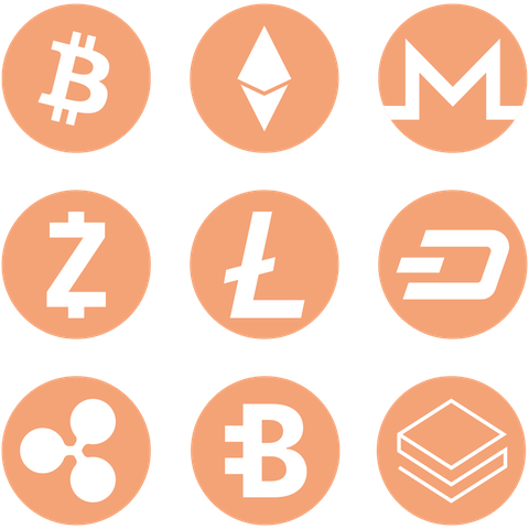 Cryptocurrency coins. Get a VPN for crypto trading.