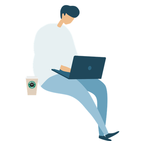 Man working on laptop, with coffee by his side