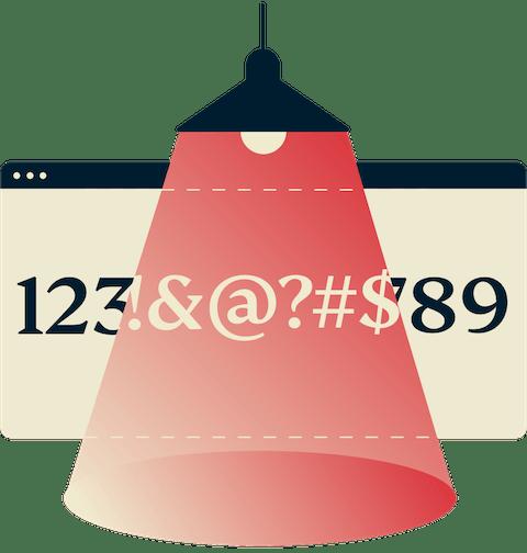 Lamp showing encrypted number line.