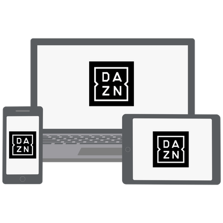 DAZN unblocked with a VPN on computer, phone, and tablet.