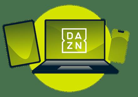 En bærbar PC, nettbrett og telefon med DAZN-logoen.
