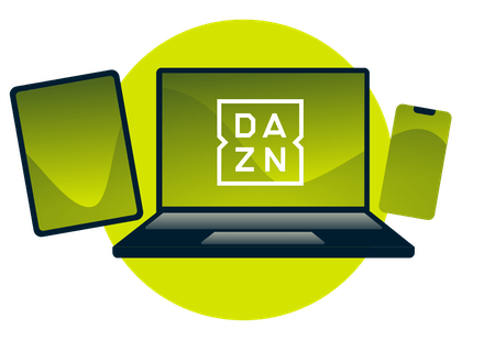 A laptop, tablet, and phone, with the DAZN logo.