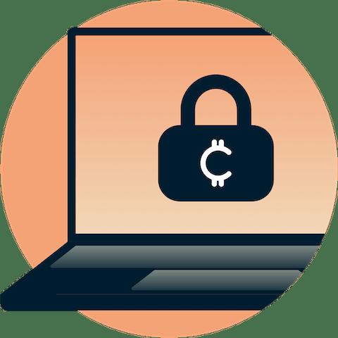 Cryptocurrency padlock on laptop screen.