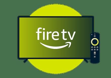 Amazon Fire TV logosu bulunan televizyon ekranı.