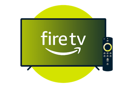 Television screen with Amazon Fire TV logo.