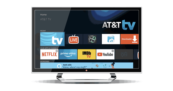 AT&T TV home screen displayed on a computer monitor.