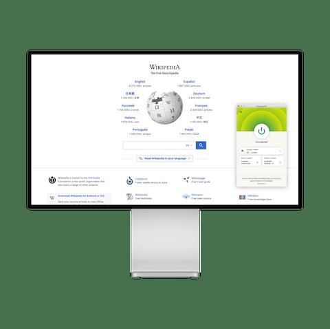 Forsiden til Wikipedia og VPN.