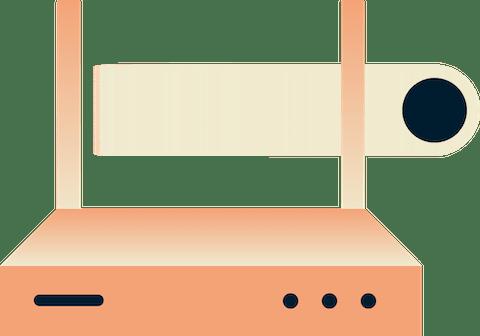 Eine Frau mit einem Telefon, einem Router, einem intelligenten Thermostat, einer virtuellen Assistentin und einem Lichtsystem, alle mit grünen Schildern gekennzeichnet.