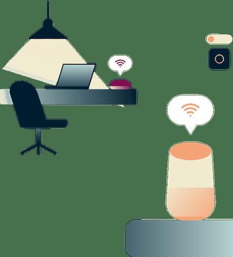Google Home, Thermostat und ein Amazon Ring mit dem ExpressVPN-Logo oben drauf.