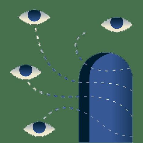 Eyes looking through a doorway.