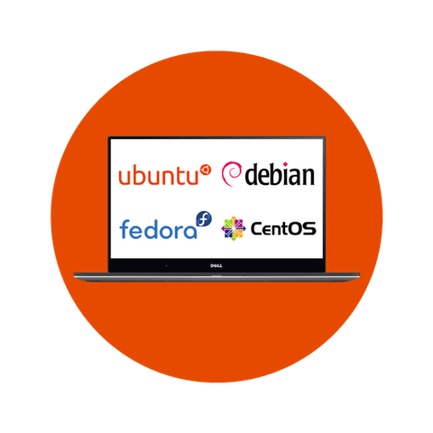 Linux machine with Ubuntu, Debian, Fedora, and CentOS logos
