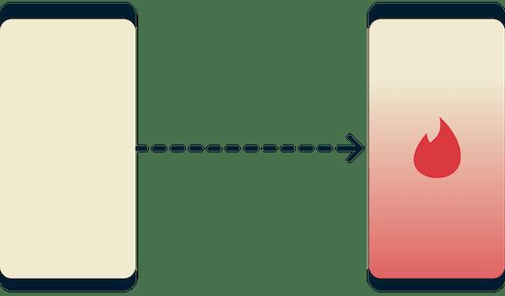 Un teléfono que no puede acceder a Tinder y otro que sí puede.