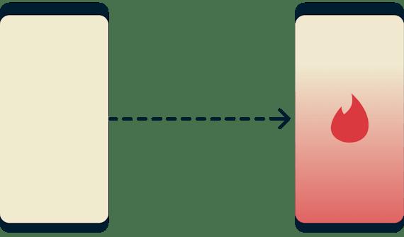 Tinder'a erişemeyen bir telefon ve Tinder'a başarılı bir şekilde erişebilen başka bir telefon.